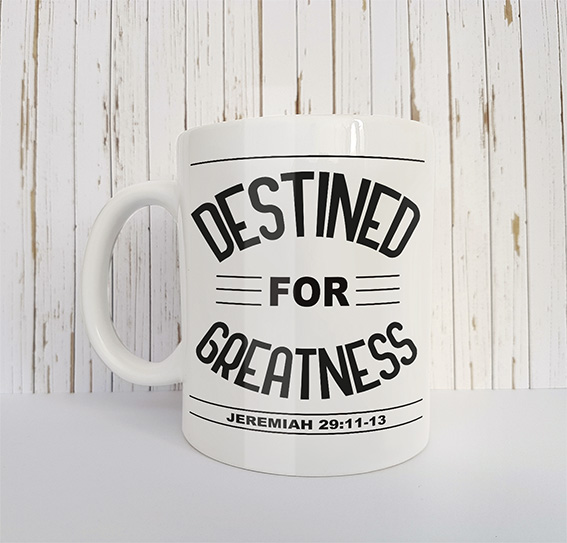 Mok met tekst Destined for greatness