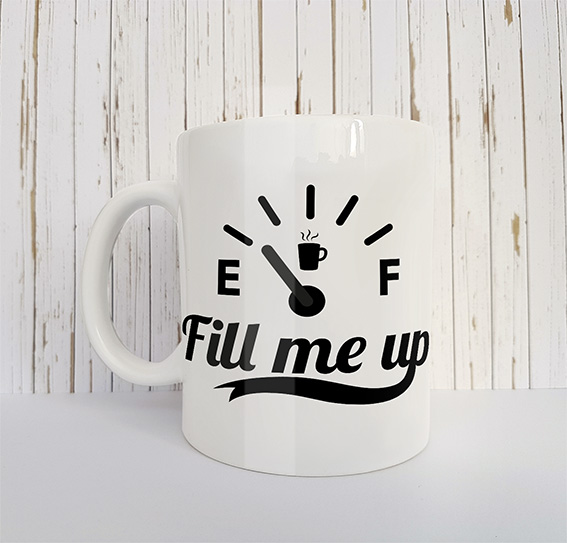 Mok met tekst Fill me up