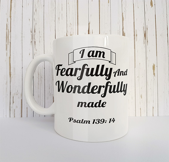 Mok met tekst I am fearfully and wonderfully made