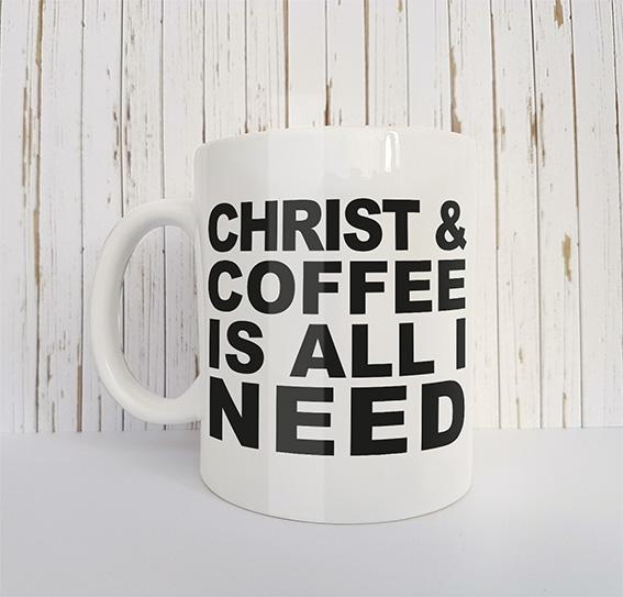 Mok met tekst Christ and coffee is all I need