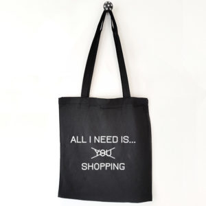 Katoenen tas met tekst All i need is shopping