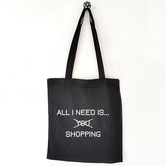 Katoenen tas met tekst All i need is shopping