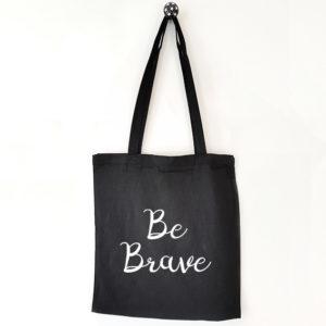 Katoenen tas met tekst Be brave