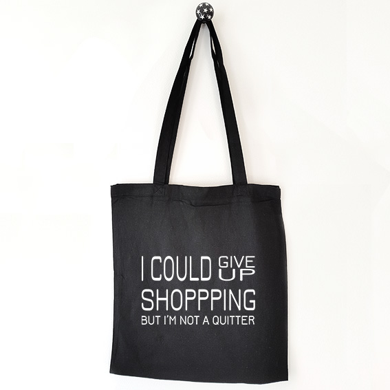 Katoenen tas met tekst I could give up shopping