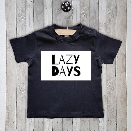T-shirt met tekst Lazy days
