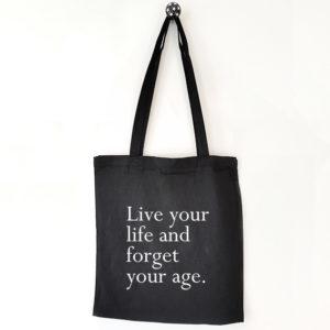 Katoenen tas met tekst Live your life