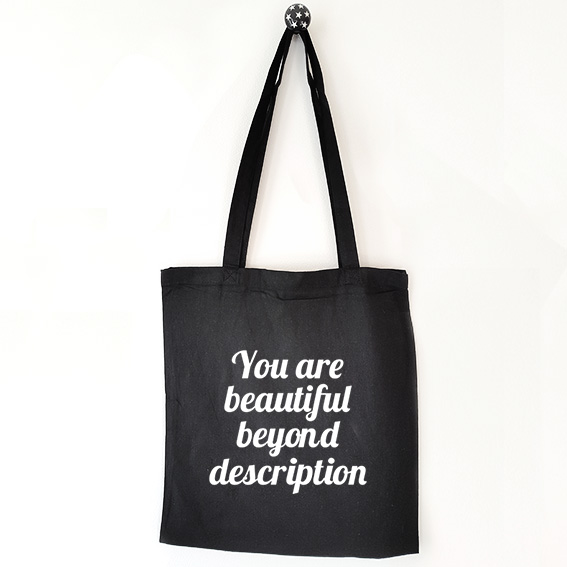 Katoenen tas met tekst You are beautiful