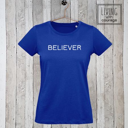 Dames t-shirt met tekst Believer