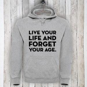Hoodie met tekst Live your life
