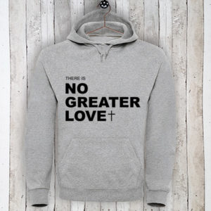 Hoodie met tekst There is no greater love