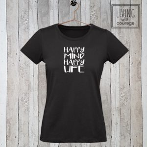 Dames stretch t-shirt Happy mind