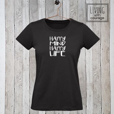 Dames stretch t-shirt Happy mind